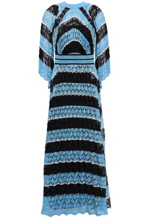MISSONI Metallic striped crochet-knit maxi dress