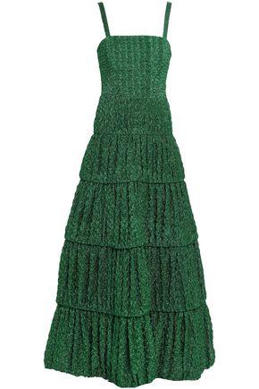 MISSONI Tiered metallic crochet-knit maxi dress
