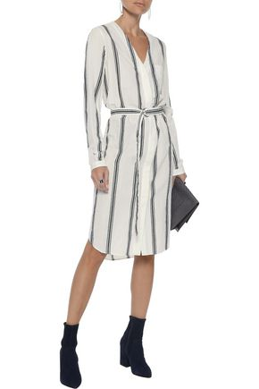 RAG & BONE Alyse belted striped cotton and linen-blend shirt dress