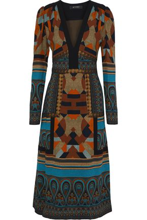 ETRO Joni jacquard-trimmed printed stretch-crepe midi dress