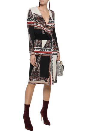 ETRO Wrap-effect patchwork-effect printed crepe dress