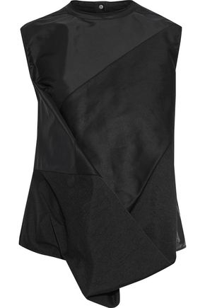 RICK OWENS LILIES Draped coated shell and cotton-twill top