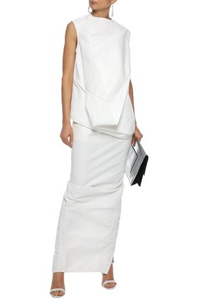 RICK OWENS Draped coated shell and cotton-twill top
