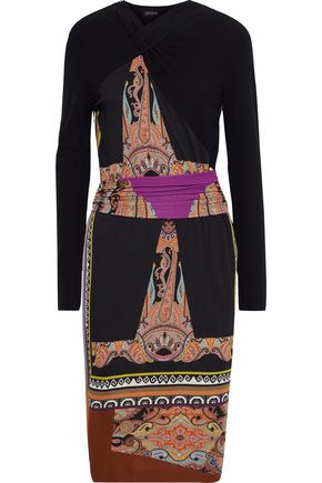 ETRO Gathered patchwork-effect printed crepe dress