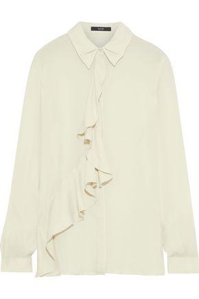 ETRO Ruffle-trimmed silk crepe de chine blouse