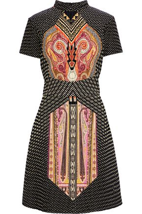 ETRO Printed satin-cloqué dress