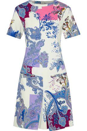 ETRO Pleated printed stretch-cotton ponte mini dress