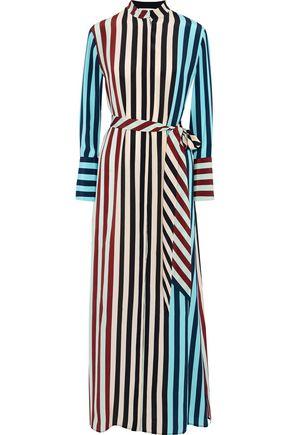 Paneled Striped Silk Crepe De Chine Maxi Shirt Dress by Diane Von Furstenberg