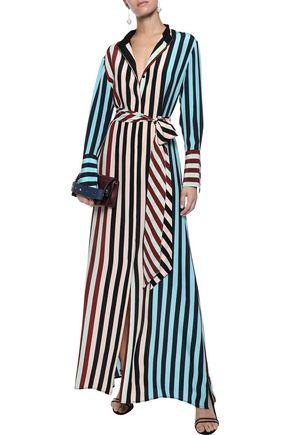 DIANE VON FURSTENBERG Paneled striped silk crepe de chine maxi shirt dress
