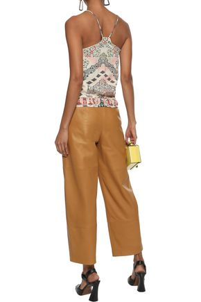 ETRO Pintucked printed washed-twill camisole