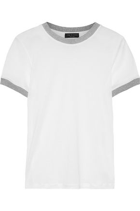 RAG & BONE Brighton metallic-trimmed stretch-jersey T-shirt