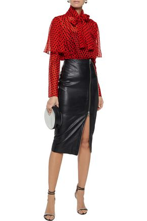 DIANE VON FURSTENBERG Pussy-bow layered polka-dot silk-georgette blouse