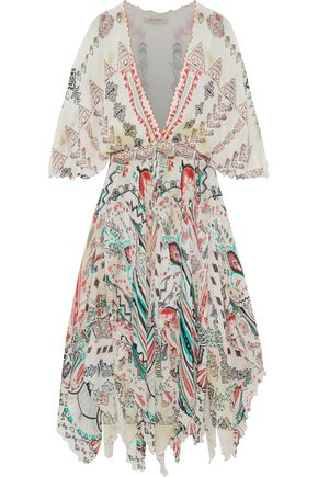 ETRO Bead-embellished layered printed silk-gauze midi dress