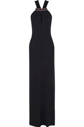 ETRO Embellished stretch-crepe halterneck gown