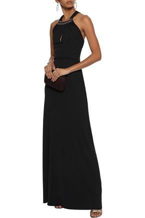 エトロ 装飾付き ストレッチクレープ ホルターネックロングドレス