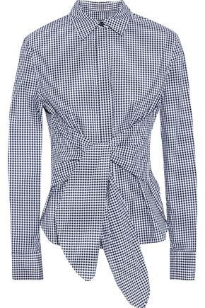 RAG & BONE Wendy tie-front gingham cotton-poplin shirt