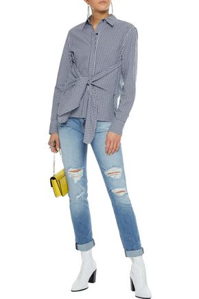 RAG & BONE Wendy tie-front gingham cotton-poplin shirt