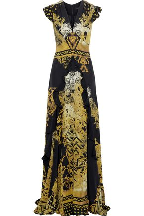 ETRO Ruffle-trimmed printed silk crepe de chine gown