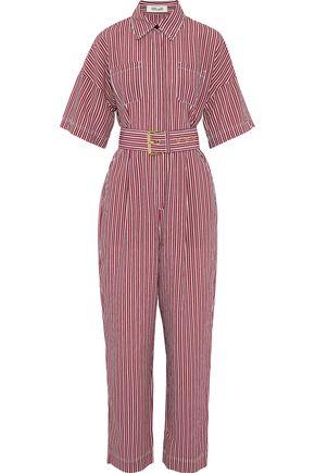 DIANE VON FURSTENBERG Belted striped poplin jumpsuit
