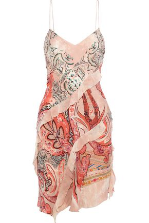 ETRO Ruffled georgette-trimmed printed crepe de chine slip dress