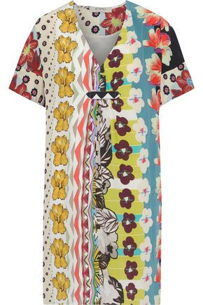 ETRO Pleated printed silk crepe de chine mini dress
