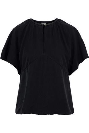 GIORGIO ARMANI Leather-trimmed silk blouse