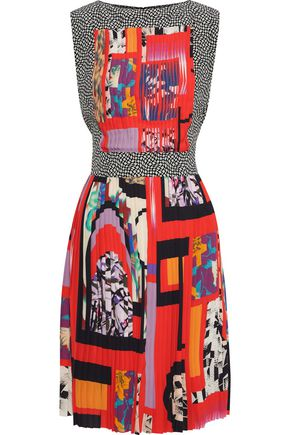 ETRO Paneled printed washed-crepe dress