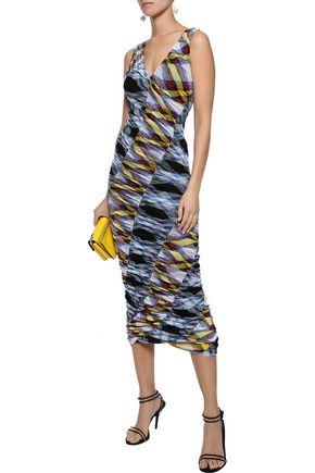 DIANE VON FURSTENBERG Paneled ruched checked stretch-mesh midi dress