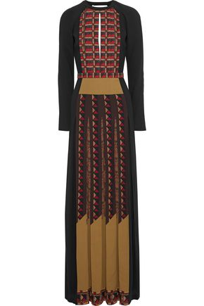 ETRO Open-back pleated printed crepe gown
