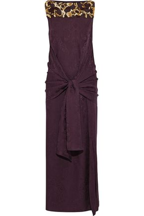 ETRO Tie-front embellished silk-jacquard gown