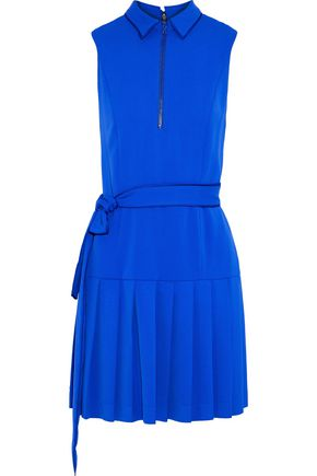 ALICE + OLIVIA Yoko belted pleated crepe mini dress