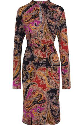 ETRO Belted printed silk-blend jersey dress