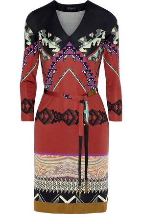 ETRO Wrap-effect printed silk-blend mini dress