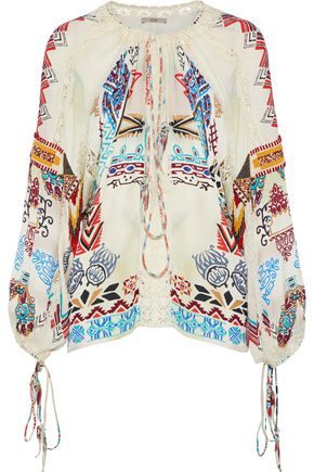 ETRO Crochet-trimmed printed satin-crepe blouse