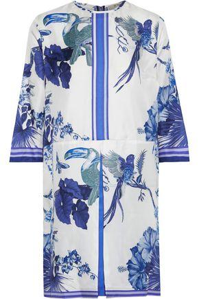 ETRO Pleated printed silk-faille mini dress