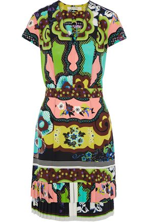 ETRO Pleated printed silk crepe de chine mini dress