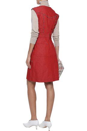 DIANE VON FURSTENBERG Zip-detailed studded denim mini dress