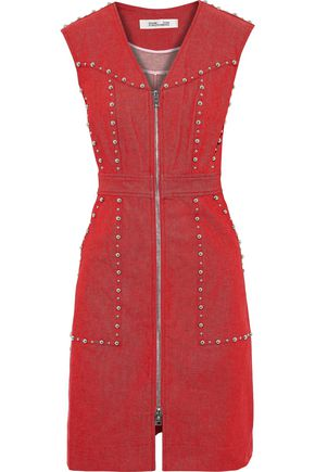 DIANE VON FURSTENBERG Zip-detailed studded denim mini dress