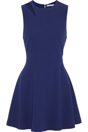 ALICE + OLIVIA Pearlie flared cutout crepe mini dress