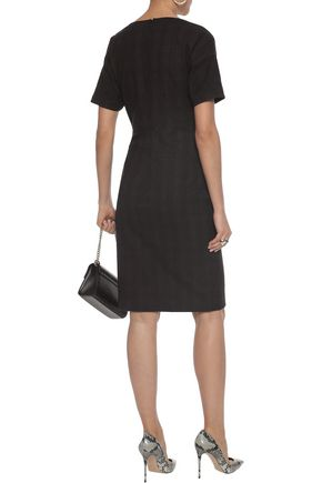 ETRO Wrap-effect checked stretch-wool dress