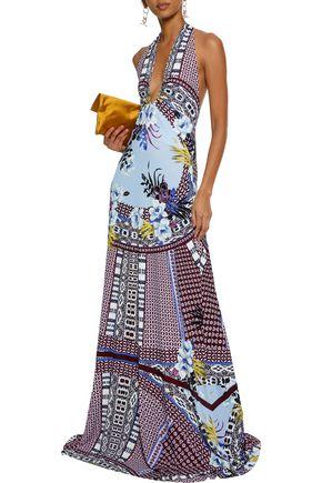 ETRO Printed stretch-crepe halterneck gown
