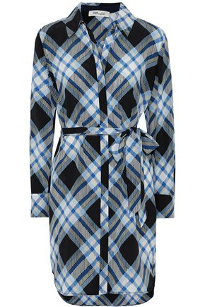 DIANE VON FURSTENBERG Belted checked silk crepe de chine shirt dress