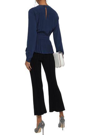 ETRO Pintucked silk crepe de chine peplum blouse