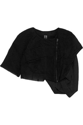 RICK OWENS Cropped cloqué, twill and mesh top