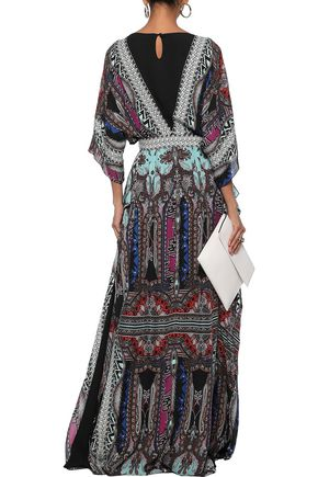ETRO Embellished printed silk crepe de chine gown