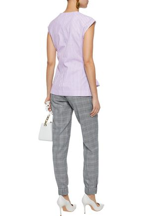 DIANE VON FURSTENBERG Tie-front striped cotton-poplin top