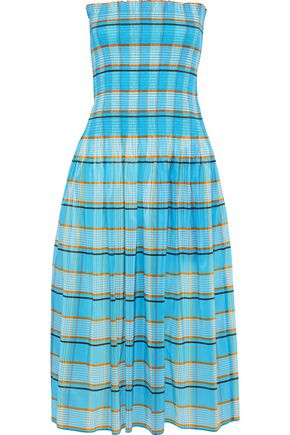 DIANE VON FURSTENBERG Strapless shirred checked shell midi dress