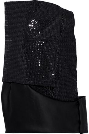 RICK OWENS Asymmetric layered sequined cotton top