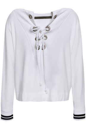 ENZA COSTA Lace-up fleece top