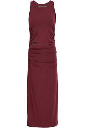 ENZA COSTA Ruched stretch-jersey midi dress